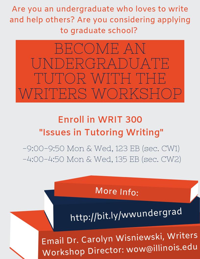 Flyer advertising the undergraduate tutoring class