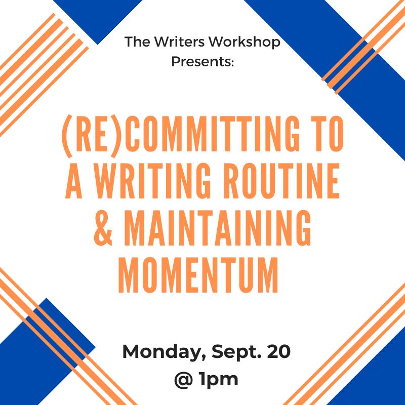 Flyer for Maintaining Momentum workshop on September 20 at 1pm