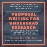 "Flyer for ""Proposal Writing in Undergraduate Research,"" Wednesday, 9/23, 3pm"