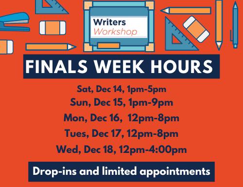 Finals week schedule