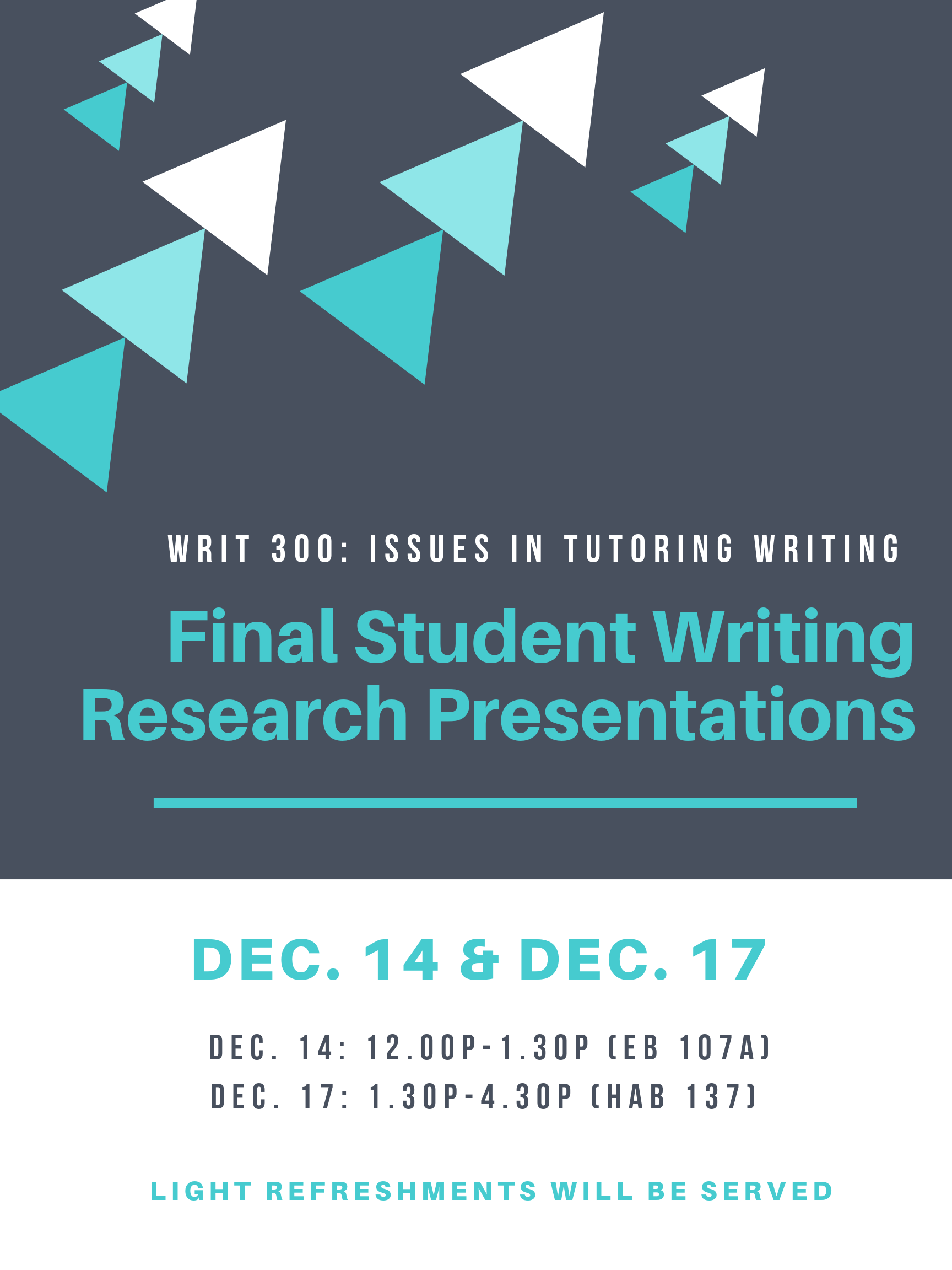 Example flyer for undergraduate student presentations
