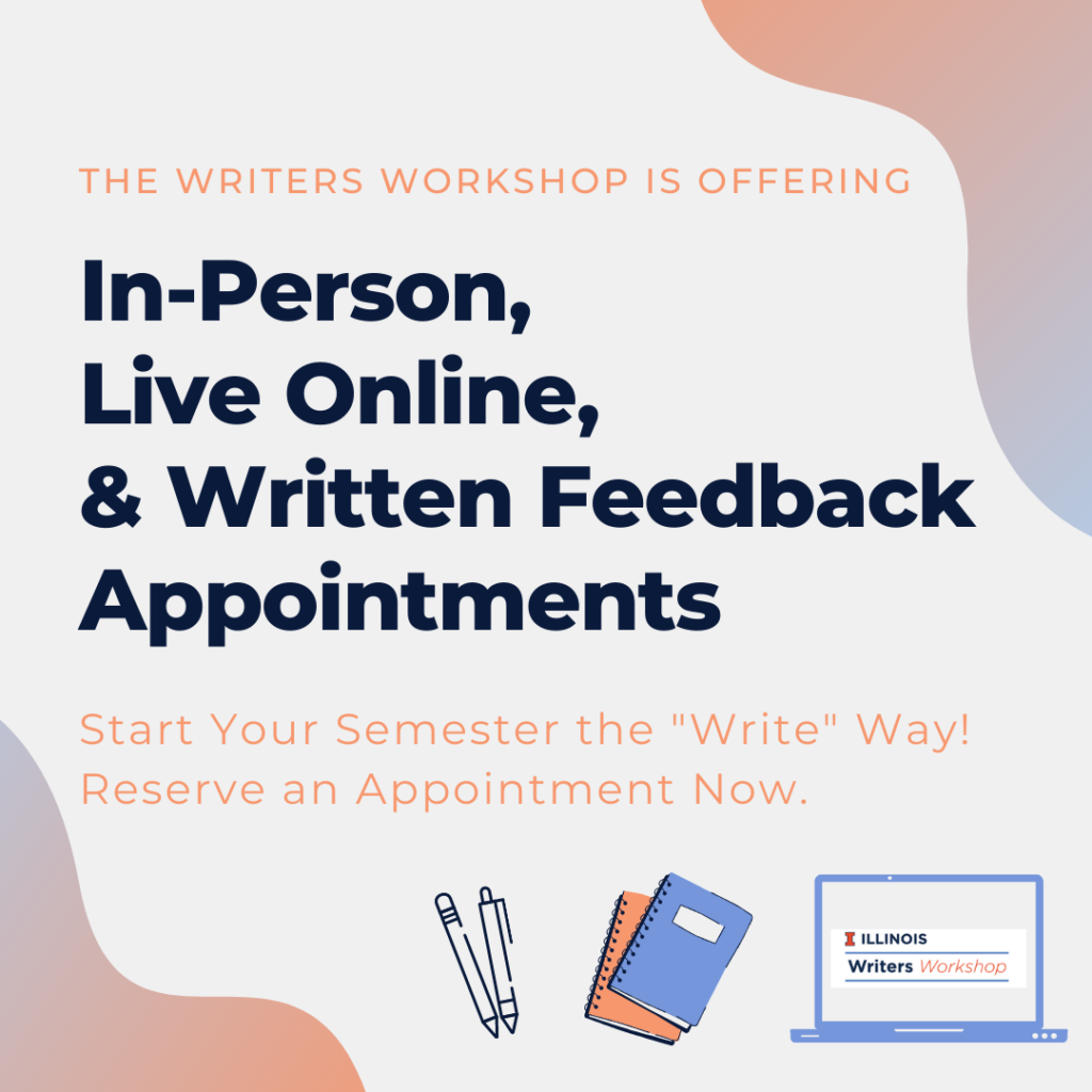 Flyer for appointment formats: In-person, live online, & written feedback appointments