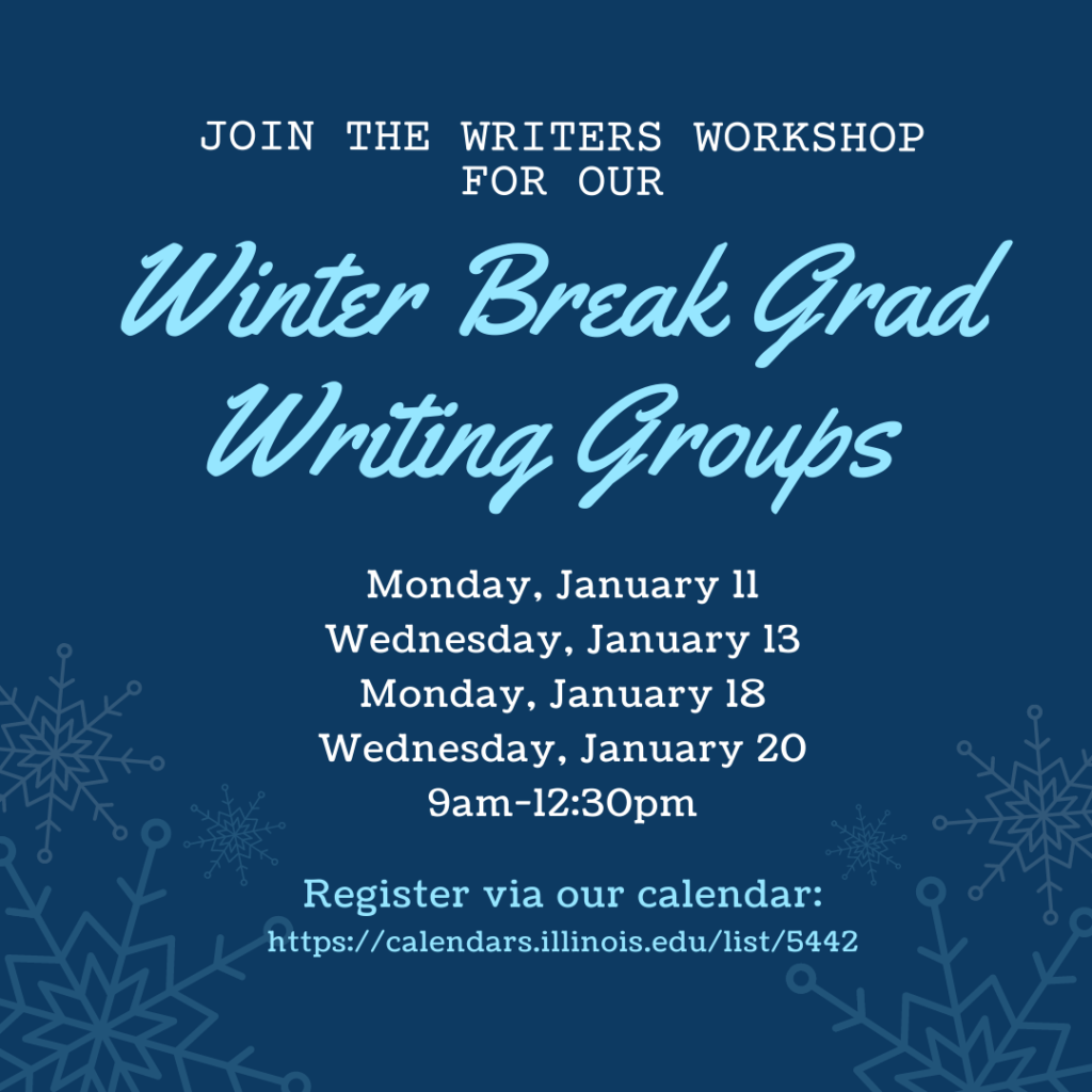 Flyer for Winter Break Writing Groups