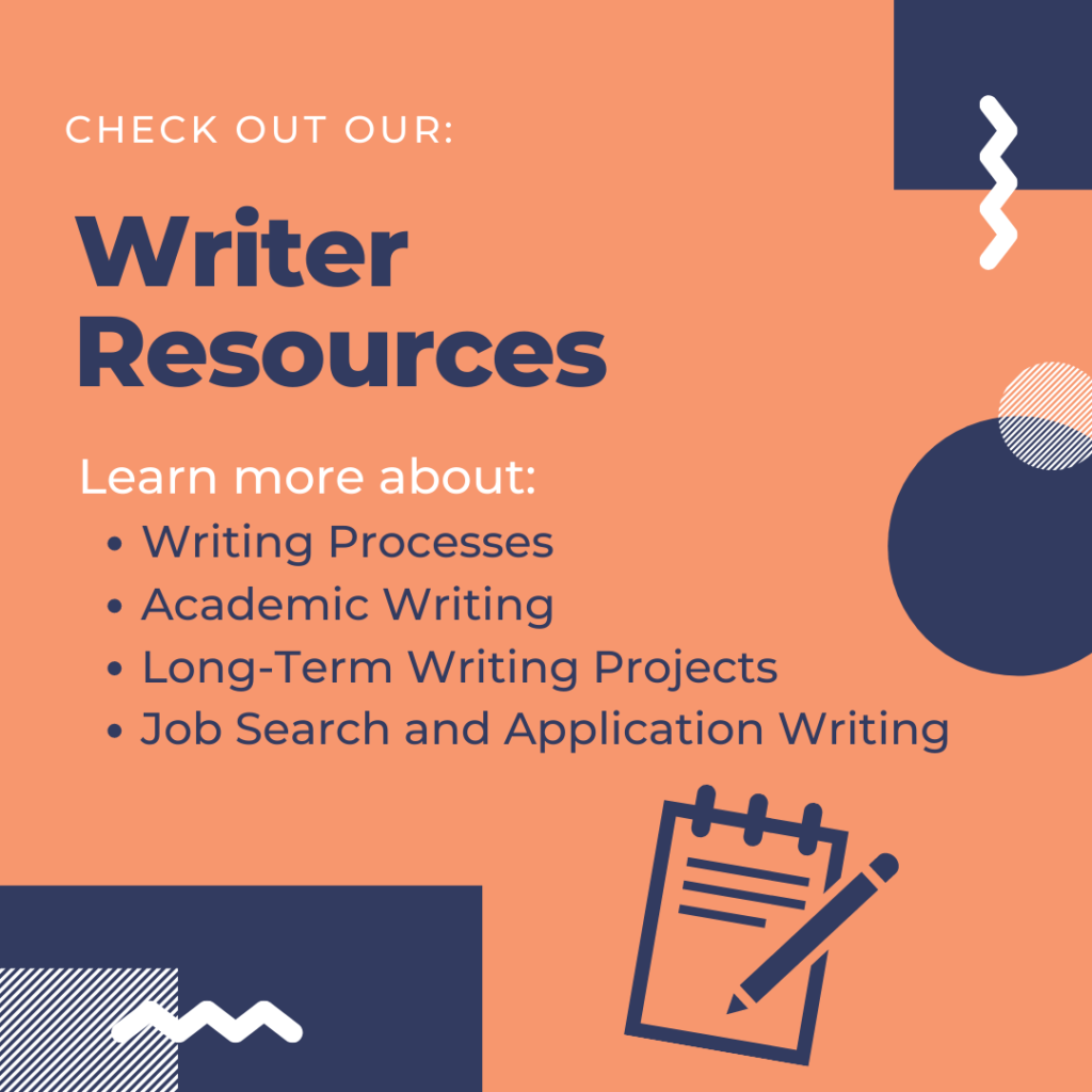 Flyer for: Check out our Writer Resources!