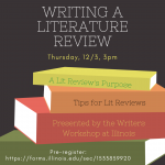 Flyer for: Writing a literature review, December 3, 3pm