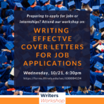 Flyer for: Writing effective cover letters for job applications, Wednesday, 10/21, 6:30pm