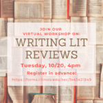Flyer for: Writing Lit Reviews, Tuesday, 10/20, 4pm
