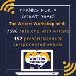 Thanks for a great year! The Writers Workshop held: 7596 sessions with writers, 152 presentations and co-sponsored events