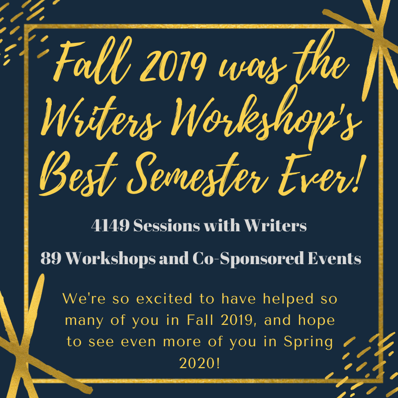 Fall 2019 was the Writers Workshop's Best Semester Ever! With 4149 sessions with writers and 89 workshops and co-sponsored events. We're so excited to see so many of you and hope to see even more in Spring 2019!