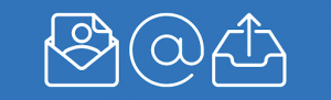 Blue banner with three white icons: an envelope with the outline of a person on the letter inside it, an @ symbol, and a symbol representing an outbox
