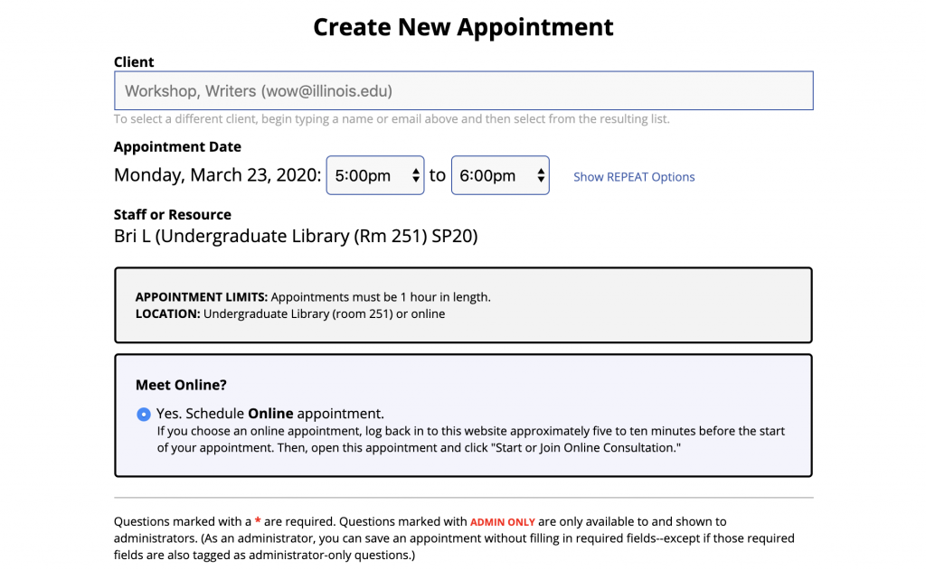 Screenshot of Appointment Form